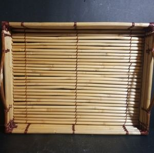 "Dining - Bamboo Wicker Serving Tray With Handles 17"" X 13"""